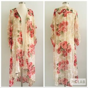 Band Of Gypsies Floral Cardigan Duster Sz M